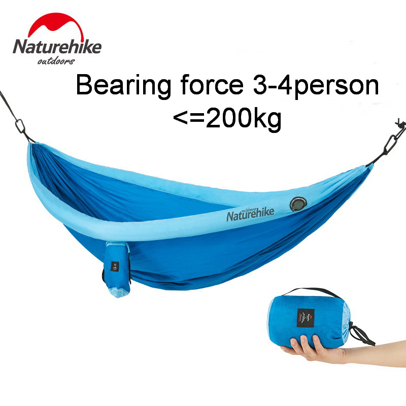 Beautiful Naturehike Outdoor 2-4 People 210t Fiber Nylon Hammock Family Inflatable Tube Support Hammocks Strong Bearing 200kg Camping Safe