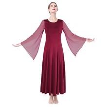 Liturgical Dance Dress Church Costume Praise Wear Pleated Long Elegant Women Adults Waltz Tango Ballet