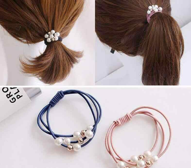 2019 New Women Hair Accessories Girl Headband Three Layer Rubber Band Imitation Pearls Ball Star Elastic Hair Bands Girl Jewelry