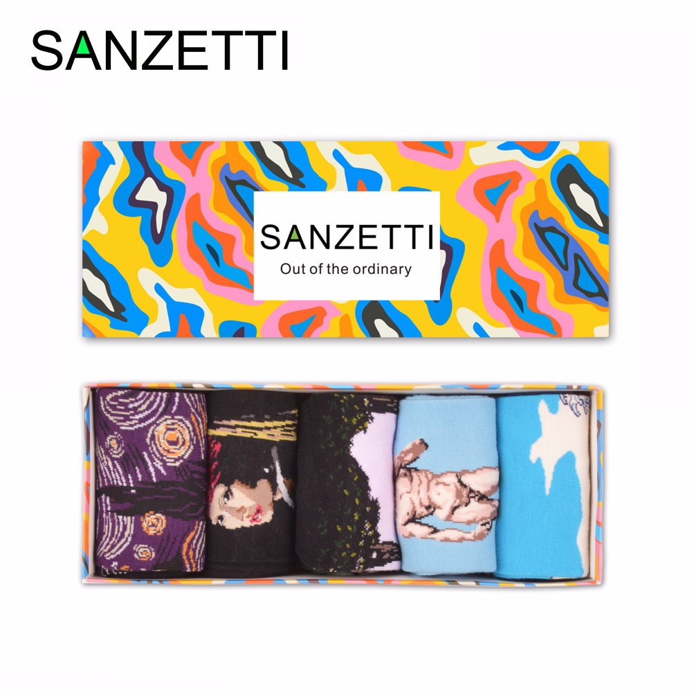 SANZETTI 5 pairs/lot Gift Box Mens Colorful Combed Cotton David Waves Oil Painting Dress Socks Casual Funny Crew Wedding Socks