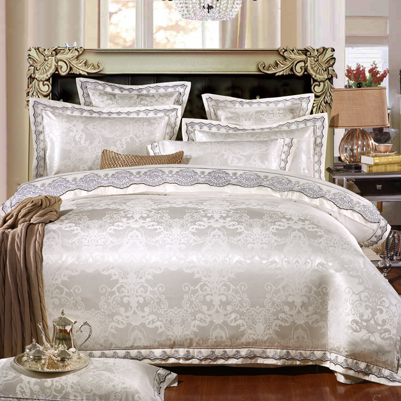 Luxury Jutecell Satin Jacquard Silk Bedding Set cotton lace Tencel Satin Bed Sheet Set Bedclothes Queen/KingSize Bed cover4/6pcsLuxury Jutecell Satin Jacquard Silk Bedding Set cotton lace Tencel Satin Bed Sheet Set Bedclothes Queen/KingSize Bed cover4/6pcs