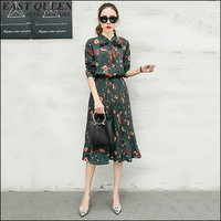womens dresses new arrival 2018 women clothes floral retro printe mid sleeves Ruffled elegant clothing feminina dress ZZ033 a