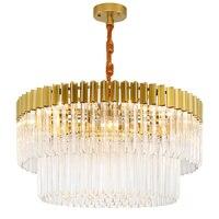 Psot современный подвесной светильник кристалл абажур гостиная украшения повесить свет покрытием металлический корпус лампы отель светодио
