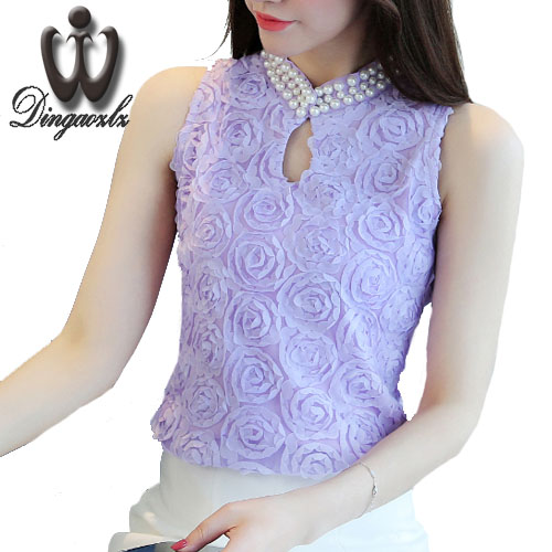 Dingaozl Sexy Beaded Collar Women shirt New Fashion Sleeveless Hollow out Tops Casual Ladies lace Chiffon blouse Clothing Blusas