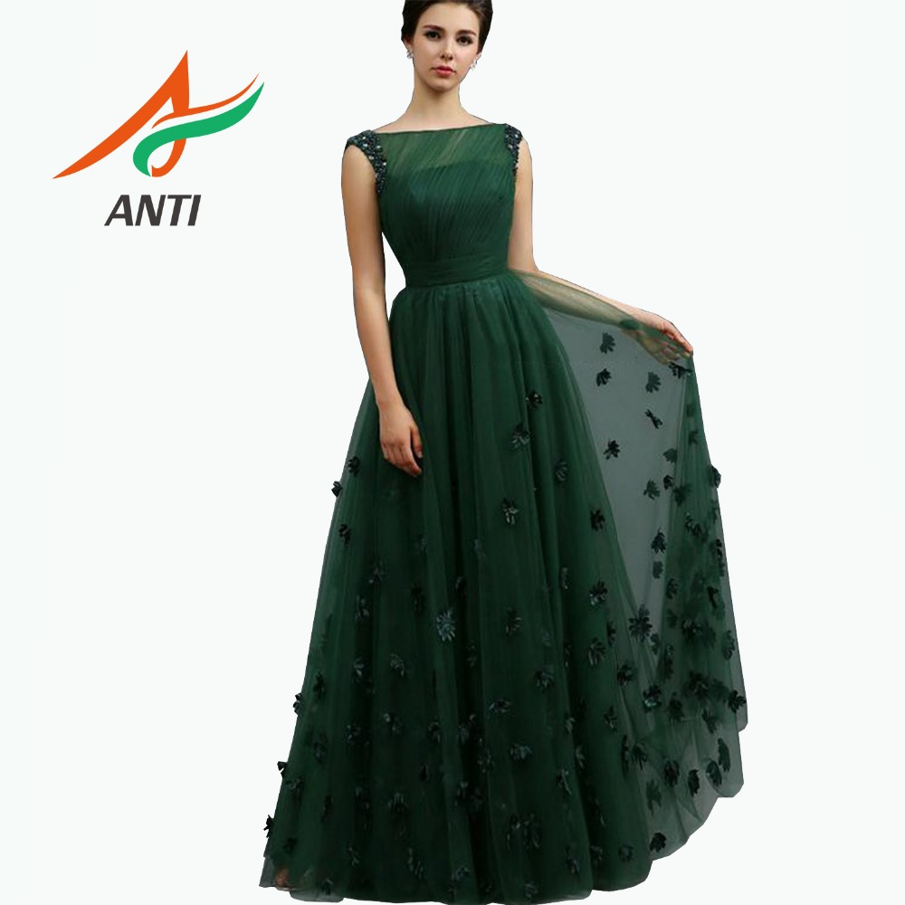 ANTI Elegant Green Long   Evening     Dress   2019 With Sleeveless Tulle Beading Sequined Woman Formal Party Gowns abiye gece elbisesi