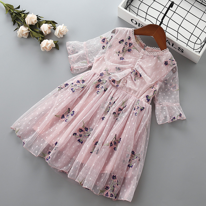 Girl embroidery flower princess dress Summer children lace clothing baby girls Mesh birthday dresses for 2-7 years kids Clothes