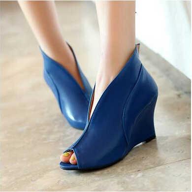 Kadın moda ayakkabılar avrupa artı boyutu 34-43 bayanlar takozlar Peep Toe seksi kadın yüksekliği artan gladyatör kızlar ayakkabı 57