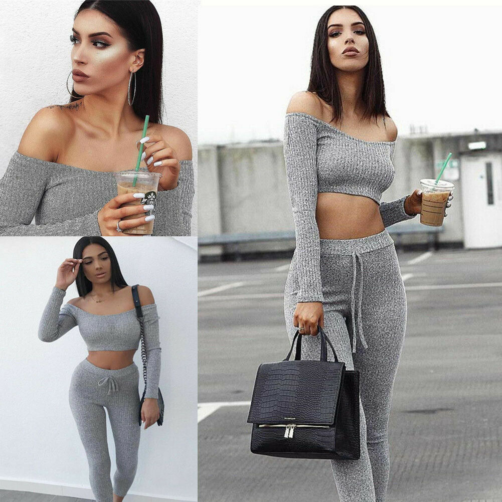 2018 New Fashion 2 Piece Set Women Off Shoulder Crop Top And Long Pants Suit Ladies Sexy Leisure Two Piece Tracksuit