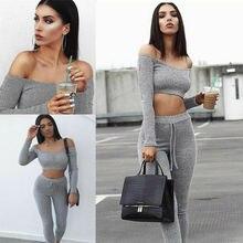 2018 new Fashion 2 Piece Set Women Off Shoulder Crop Top And