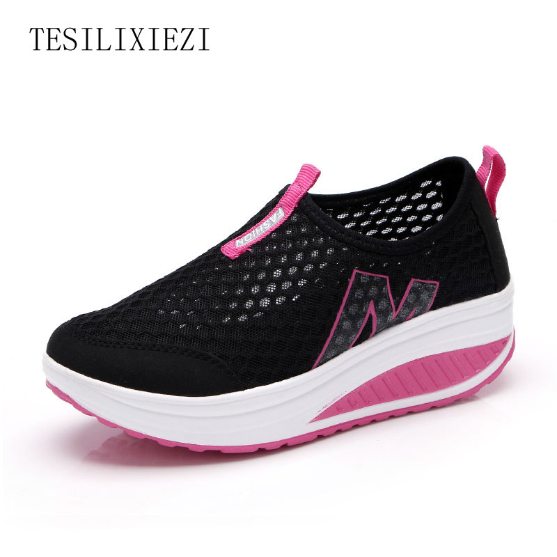 Summer Shoes Women Casual Fashion Height Increasing Women Platform Shoes Breathable Air Mesh Swing Wedges Shoe women krasovki hot height increasing 2016 summer shoes women s casual shoes sport fashion walking shoes for women swing wedges shoes breathable