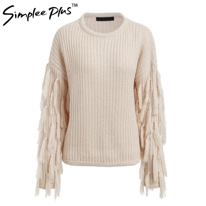 Simplee Plus  O neck winter sweater women long sleeve tassel casual pullover 2018 Autumn streetwear pull femme outerwear fashion 4