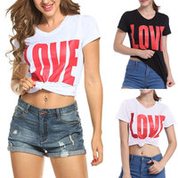 Free Shipping 2017 New Summer Europe And America Women S Tees Letter Printing Love V Neck
