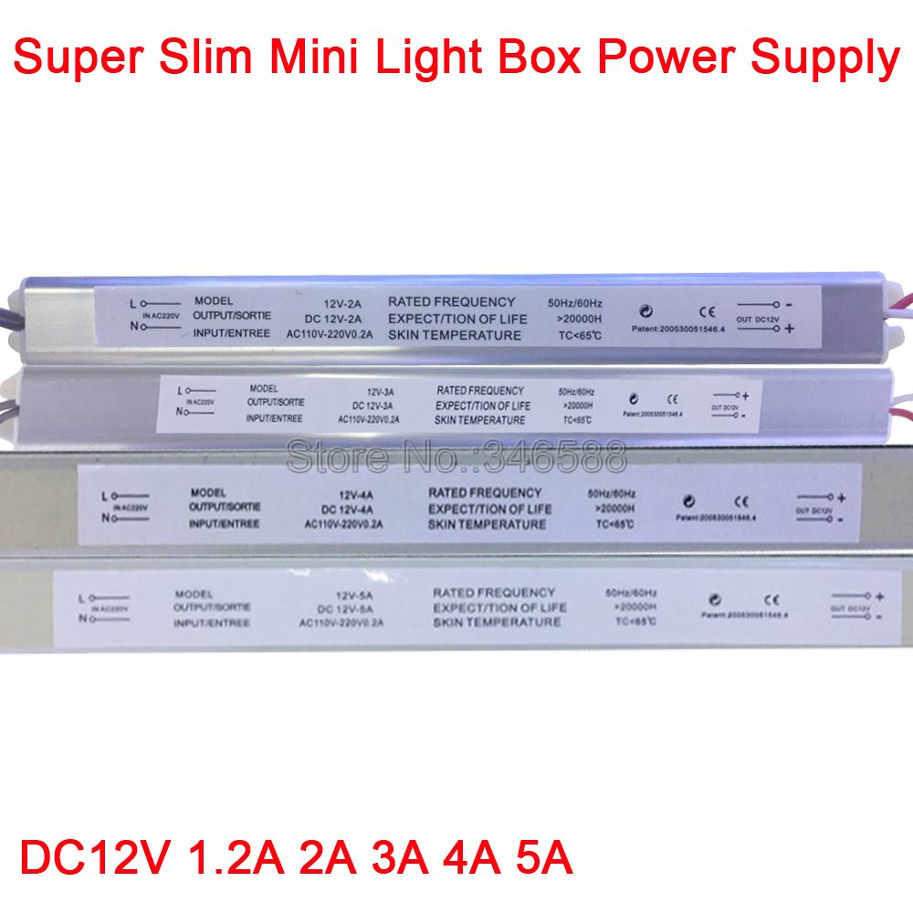 AC110V 220V to DC <font><b>12V</b></font> <font><b>1.5A</b></font> 2A 3A 4A 5A Ultra Thin Switching <font><b>Power</b></font> <font><b>Supply</b></font> Lighting Transformer for Slim Advertising Light Box image