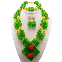 Green African Beads Jewelry Set 2017 Beautiful Nigerian Wedding Bridal/Bridesmaid Jewelry Set Handmade Free Shipping