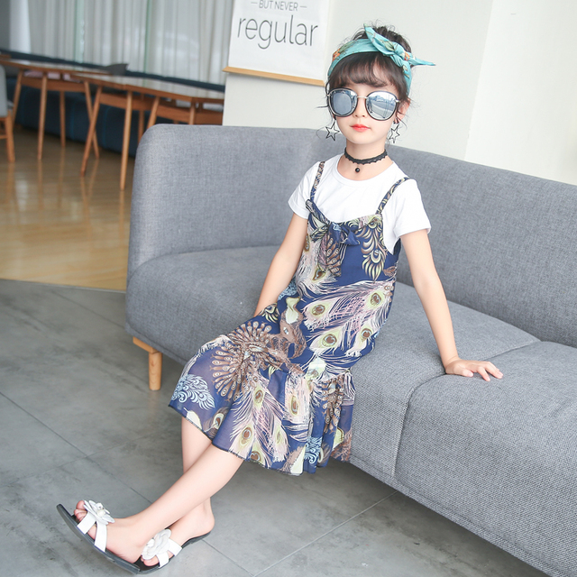 a79118f4e68 Smilecity Girl Clothes Sets White T-shirt+Floral Print Suspender Skirt 2pcs  Causal Summer Style For 4-12Y Girl Dress Clothes