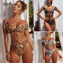 Yisiman Brazilian thong bikini Off shoulder swimsuit female Leopard swimwear high waist bikinis 2019 woman bathing suit bathers