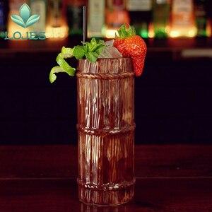 Image 4 - New 470ml Hawaii Tiki Mugs Cocktail Cup Beer Beverage Mug Wine Mug Ceramic Bamboo Tiki Mug