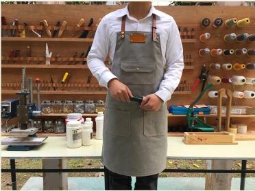 Hot selling Korean version of the apron custom light grey denim canvas overalls coffee shop restaurant painting qy148