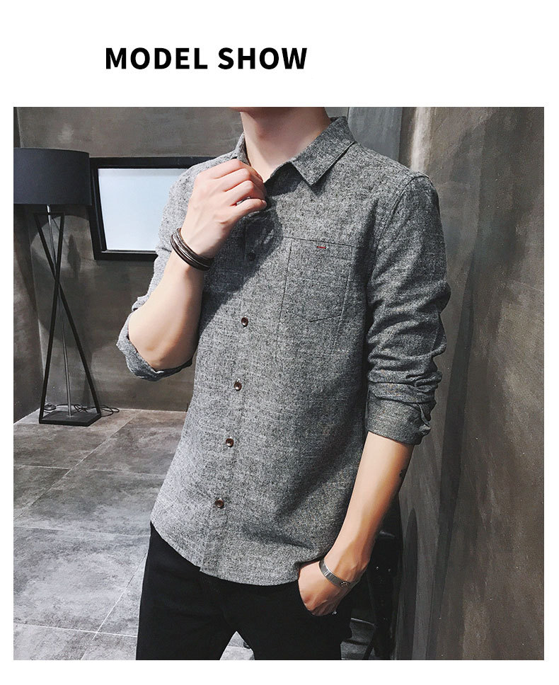 2019 spring new men's shirt Korean version of the self-cultivation youth casual business cotton shirt tide men's boutique shirt 41