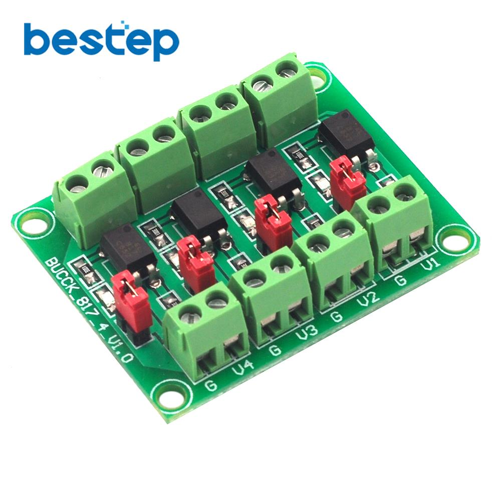 PC817 4 Channel Optocoupler Isolation Board Voltage Converter Adapter Module 3.6-30V Driver Photoelectric Isolated 817