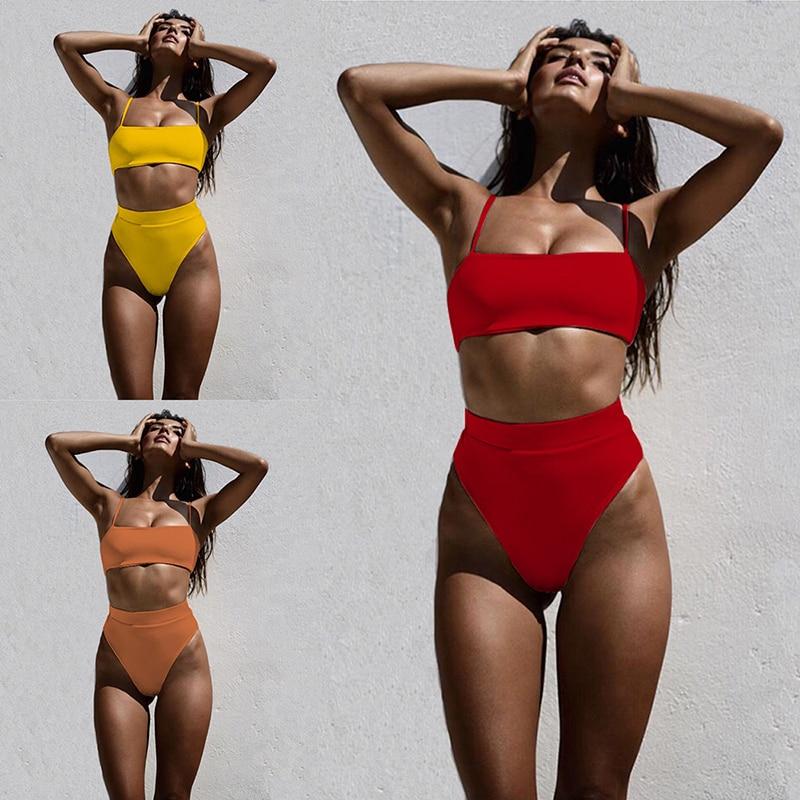 ZTVitality Sexy Bikinis Solid Push Up Bikini 2020 Hot Sale Padded Bra Straps High Waist Swimsuit Female Swimwear Women Biquini 2