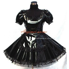Envío gratis sexy sissy maid negro pvc dress cosplay uniforme hecho a medida