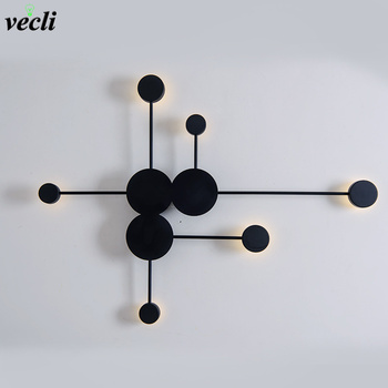 NEW Nordic creative wall light modern LED living room wall lamp aisle lighting fixtures Black or White Round Iron wall sconce black modern led wall lamp acrylic round