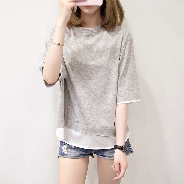 Nkandby Plus size Half sleeve T shirts Summer Korean Femme Casual Loose  Patchwork Tops Faux two piece Maiden Tshirt b4e564933b18