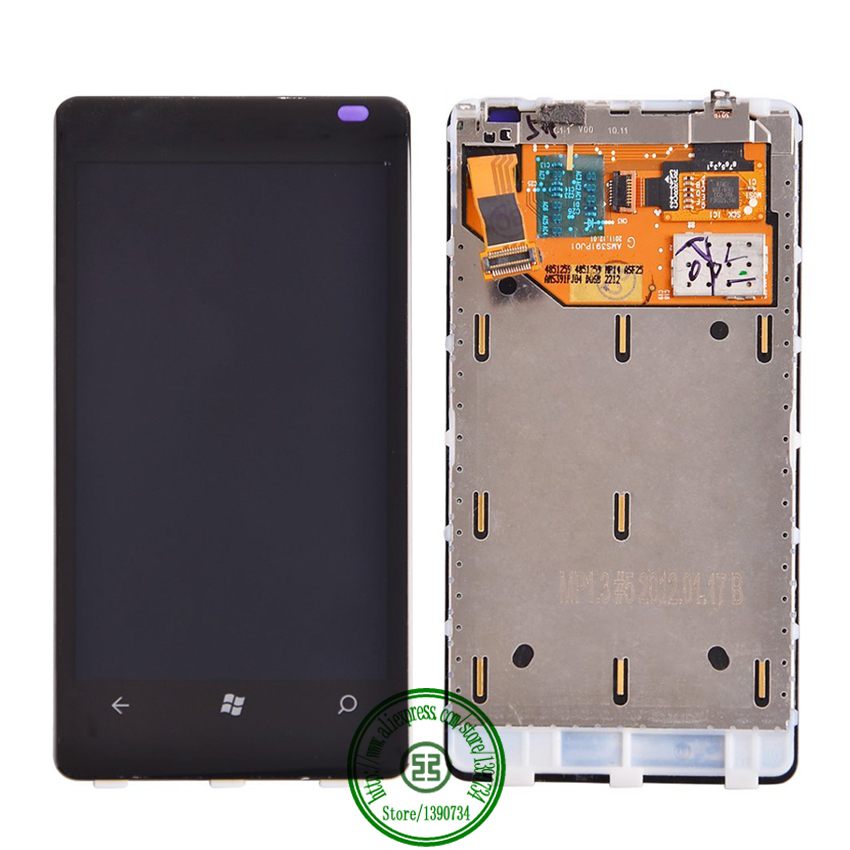 Black Full LCD Display Panel Touch Screen Digitizer Assembly With Frame For Nokia Lumia 800 Phone Replacement Part Free shipping black lcd display touch screen digitizer assembly with bezel frame for nokia lumia 1520 replacements part free shipping