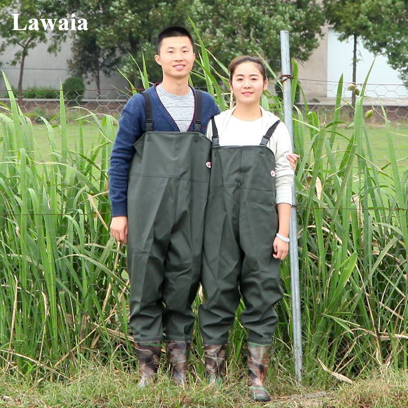 цена на Lawaia Men's Breathable Chest for Fly Fishing Outdoor Waterproof Trousers Wader Pants Fishing Boots Army Green PVC Water Pants