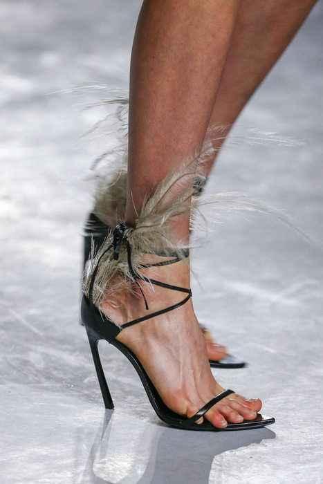 4ea0f6ec98a Women Feather Summer Sandals Black Leather Ankle Strap Sandalias Feminina  Formal Dress High Heels Ladies Valentine Shoe
