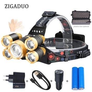 נטענת 40000lm פנס T6 LED פנס ציד דיג Led זום ראש פנס USB חיישן ראש מנורות תאורה חיצונית