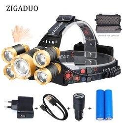 Rechargeable 40000lm Headlight T6 LED Headlamp Hunting Fishing Led ZOOM Head Flashlight USB Sensor Head Lamps Outdoor Lighting