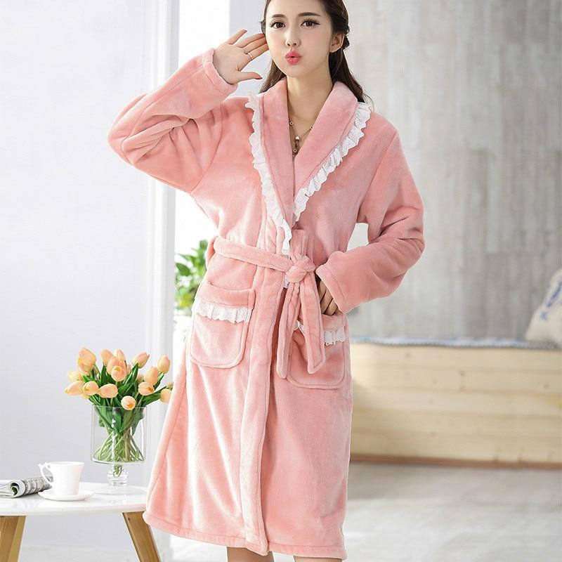 Autumn Winter Women Gown Robe Thick Warm Flannel Long Sleeve Robe Fleece Female Sleepwear Elegant Dressing Gown Bathrobe