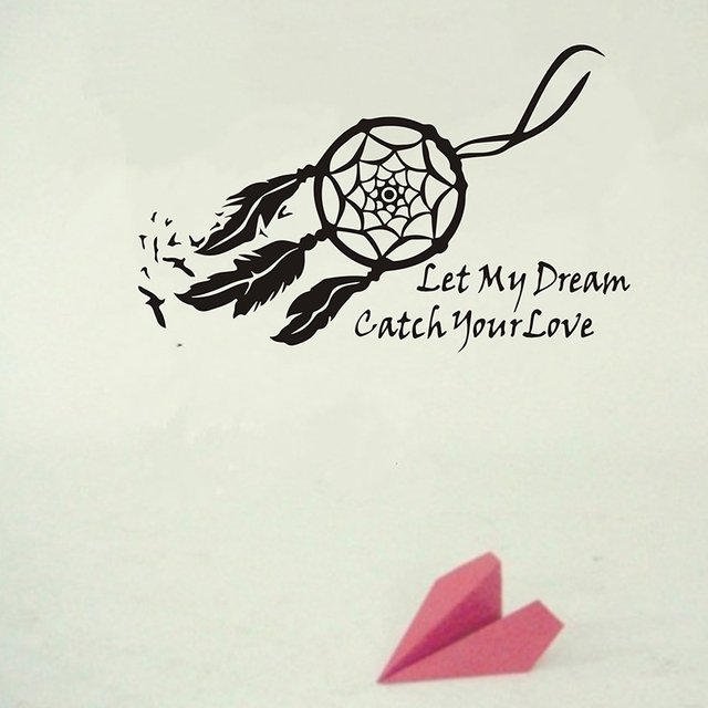 Wall Decals Dream Catcher Sticker Let My Dream Bedroom Quote Wallpaper Home  Art