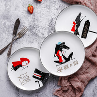 8 inç siyah kenar kemik çini 1 adet plaka seramik küçük kırmızı şapka plaka sofra yemek takımı biftek tabağı Dim Sum yemek tabakları