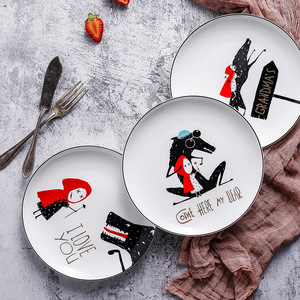 8 inch Black edge of bone china 1pcs plate ceramic Little Red Hat Plate tableware dinner set Steak Plate Dim Sum Dinner Plates(China)