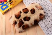 100 Real Rabbit Fur Leopard Print Case Fashion Luxury Cute Cartoon Hair Bling Diamong Cover For