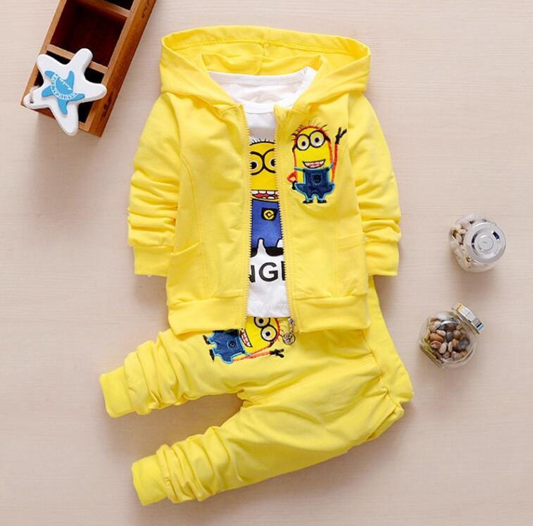 2017 Boys Clothing Set Cotton Minion Clothing Sets Unisex Sport suit 3pcs Coat+T shirt+pants baby boys girls clothes