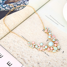 Hot Sweet Elegant Women Bohemian Bib Gem Choker Necklace & Fresh Candy Color Statement Pendant Necklaces moda mujer XY-N155