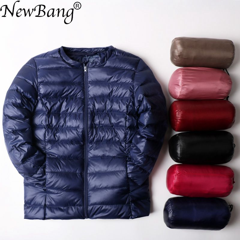 NewBang Ultra Light   Down   Jacket Women Collarless   Coat   With Zipper Woman Feather Outwear Jacket Women Slim Female Windbreaker