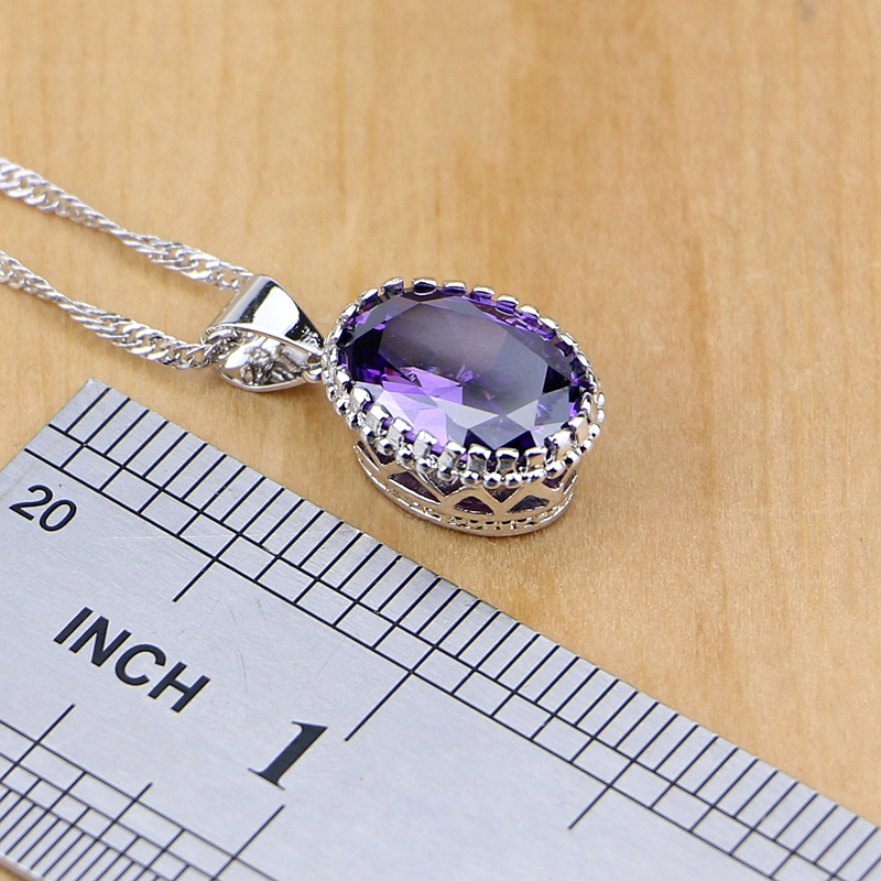 Natural 925 Perhiasan Perak Purple Cubic Zirconia Putih Kristal - Perhiasan fashion - Foto 3