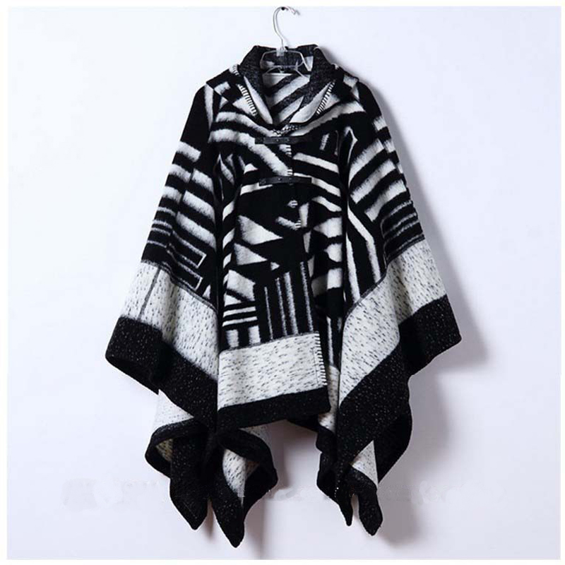Womens Wnter Poncho Cape Coat Cardigan Cloak Cape Hooded Cashmere Shawl Scarves Geometri ...