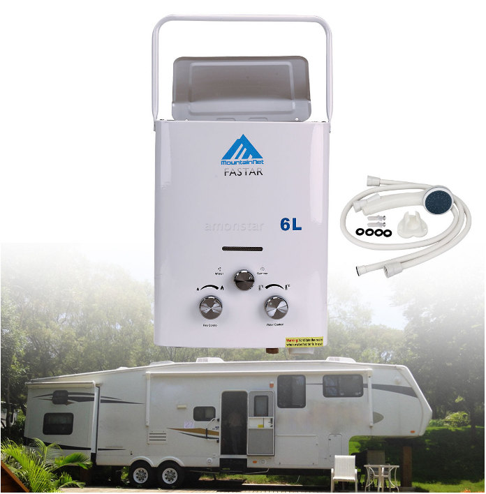 LPG 6L Portable Tankless Camping Propane RV 12-Volt Hot Water Heater 1.6 Gpm CE approved