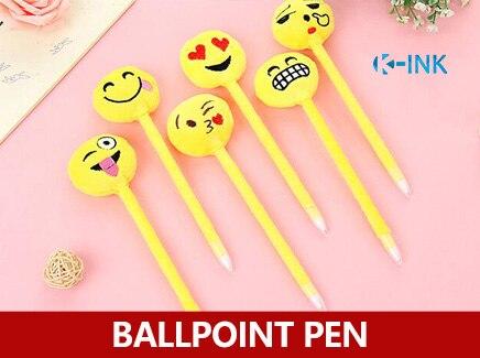 24pcs / lot , Emoji Expression Funny Ballpoint Pen , Smile Face Ball-Point Pen , Blue Ink