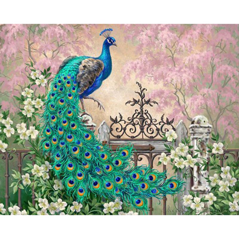 Diamond Painting Cross Stitch peacock Diamond Embroidery DIY Diamond Mosaic Round Rhinestone Pasted Crafts Needlework