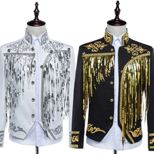 Free shipping mens black/white golden embroidery sequins tassel stand collar tuxedo jacket/stage performance jaceket with pants
