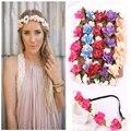 Women Bohemian Flower Headband Handmade Floral Crown Hairband Party Wedding Wreath Bridal Headdress Elastic Hair Accessories