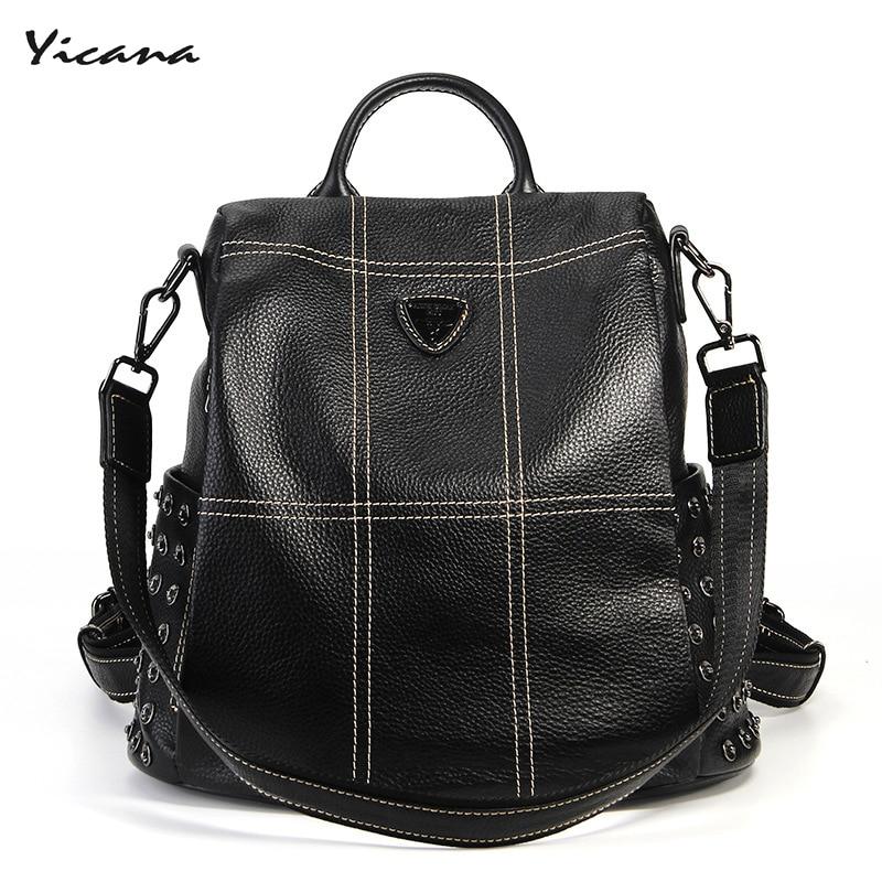 Yicana 2018 new style 100% Genuine leather backpack multi-function popular women's fashion bag multi function white radish style peeler