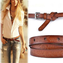 1pcs Women Lady Retro Style  Nice Leather Floral Printing Thin Waistband Buckle Waist Belt